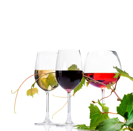 Foto de Three glasses of wine isolated on white background - Imagen libre de derechos