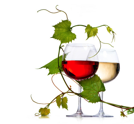 Photo pour Two glasses of red and white wine decorated with grape leaves - image libre de droit