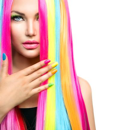 Photo pour Beauty Girl Portrait with Colorful Makeup, Hair and Nail polish - image libre de droit