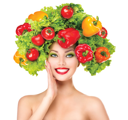 Photo pour Beauty girl with vegetables hairstyle  Dieting concept - image libre de droit