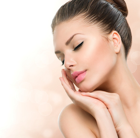 Photo for Beauty Spa Woman Portrait  Beautiful Girl Touching her Face - Royalty Free Image