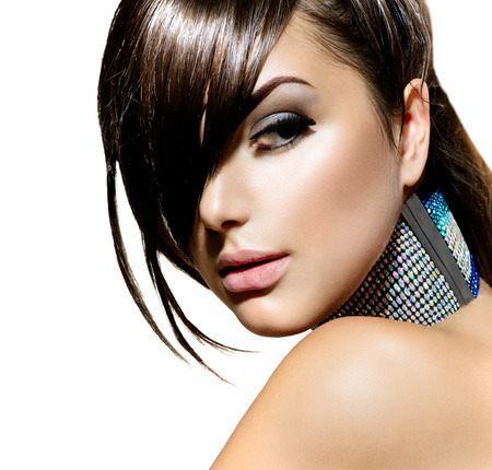 Foto für Fashion Beauty Girl  Stylish Fringe Haircut and Makeup - Lizenzfreies Bild