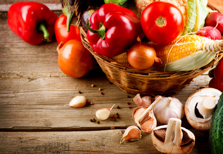 Photo for Healthy Organic Vegetables on a Wooden Background - Royalty Free Image