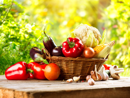 Foto per Fresh Organic Bio Vegetable in a Basket over Nature Background - Immagine Royalty Free