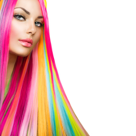 Photo for Colorful Hair and Makeup  Beauty Model Girl with Dyed Hair - Royalty Free Image