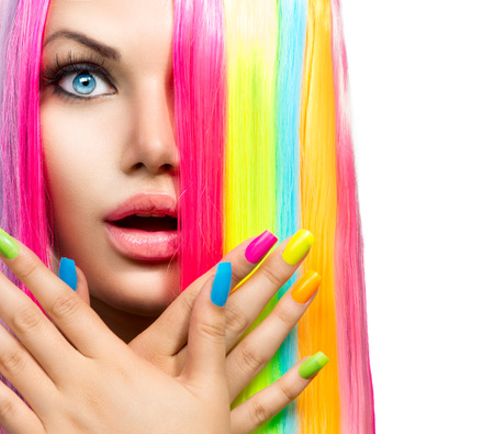 Foto de Beauty Girl Portrait with Colorful Makeup, Hair and Nail polish - Imagen libre de derechos