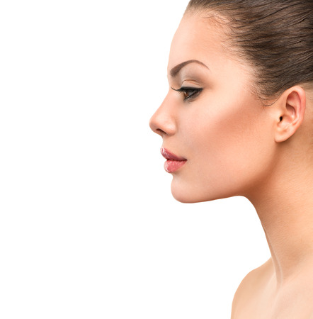 Foto de Beautiful Profile Face of Young Woman with Clean Fresh Skin - Imagen libre de derechos