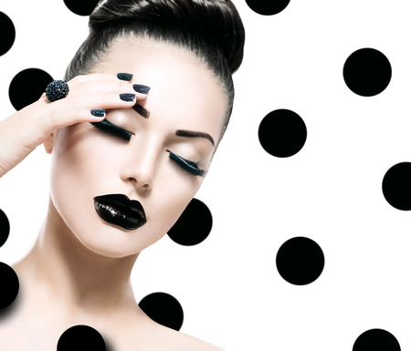 Photo for Vogue Style Model Girl. Trendy Caviar Black Manicure - Royalty Free Image