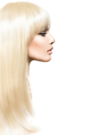 Foto de Blond Hair. Blonde Beauty girl with long smooth shiny hair - Imagen libre de derechos