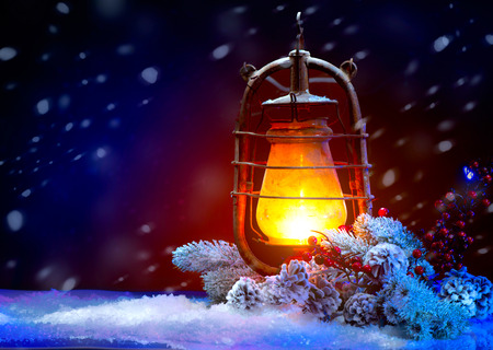 Photo for Christmas Holiday Scene. Burning Old Styled lantern in the evening - Royalty Free Image
