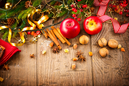 Foto de Christmas holiday table setting border design - Imagen libre de derechos