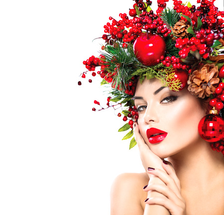 Photo pour Christmas fashion model woman. New Year hairstyle and makeup - image libre de droit