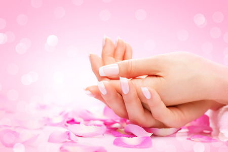 Foto de Hands spa. Manicured female hands, soft skin, beautiful nails - Imagen libre de derechos