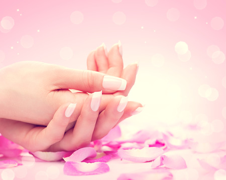 Photo pour Hands spa. Manicured female hands, soft skin, beautiful nails - image libre de droit