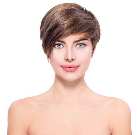 Photo pour Beautiful young woman with short hair portrait - image libre de droit