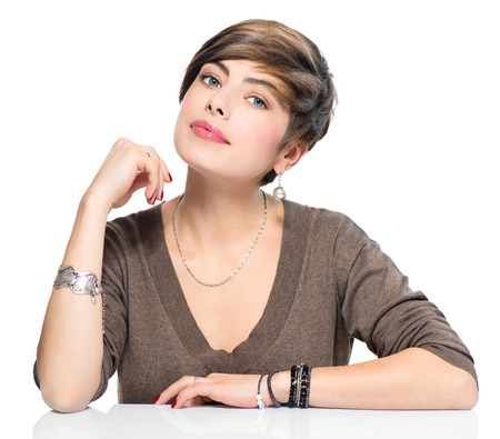 Photo for Young beauty woman with short bob hairstyle, beautiful makeup - Royalty Free Image