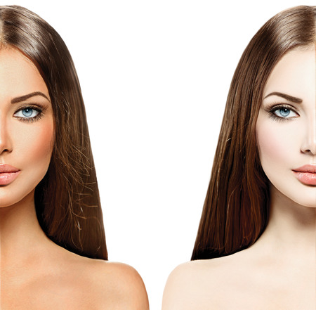 Photo for Beautiful young woman with tanned skin before and after tan - Royalty Free Image