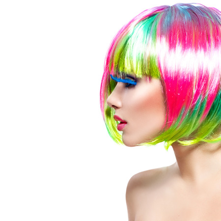 Photo for Beauty fashion model girl with colorful dyed hair - Royalty Free Image
