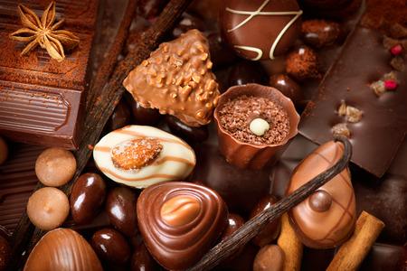 Photo for Chocolates background. Praline chocolate sweets - Royalty Free Image