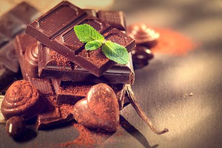 Assortment of fine chocolates in white, dark, and milk chocolate