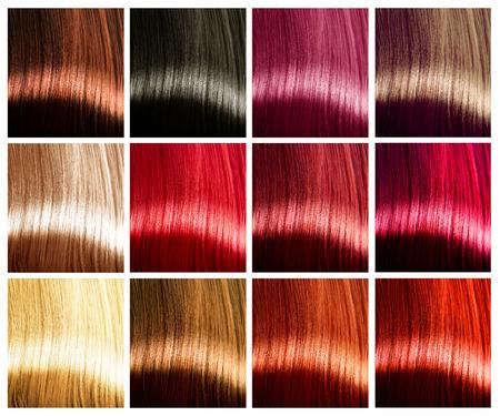 Photo pour Hair colors palette. Tints. Dyed hair color sample - image libre de droit