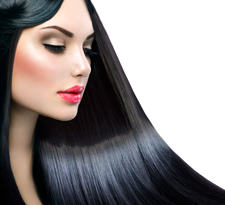 Photo pour Beautiful model girl with healthy long straight shiny hair - image libre de droit