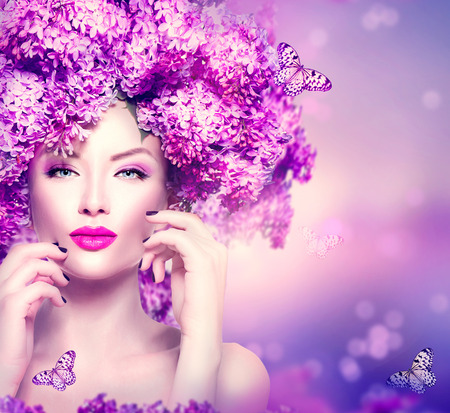 Photo for Beauty fashion model girl with lilac flowers hairstyle - Royalty Free Image