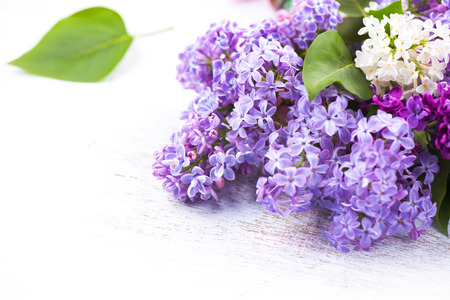 Photo for Lilac flowers bunch over white wooden background - Royalty Free Image