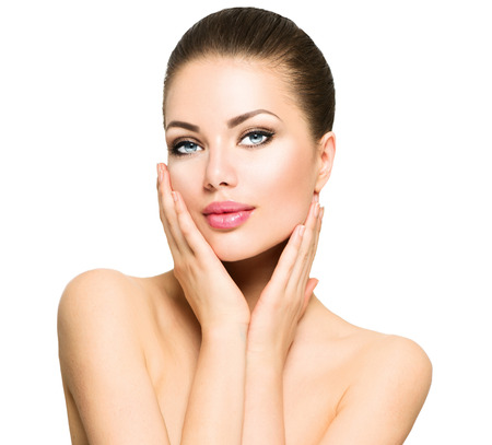 Photo pour Beauty portrait. Beautiful spa woman touching her face - image libre de droit