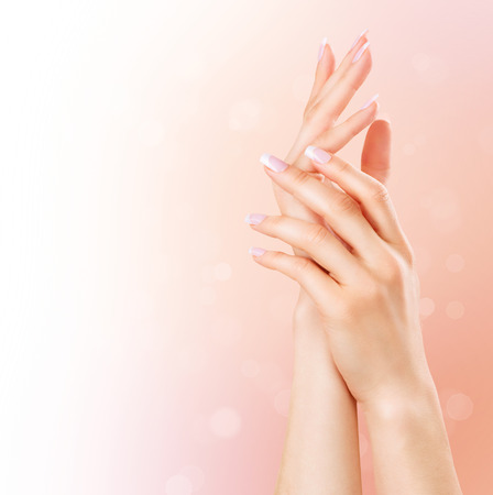 Photo pour Manicure and hands spa. Beautiful woman hands closeup - image libre de droit