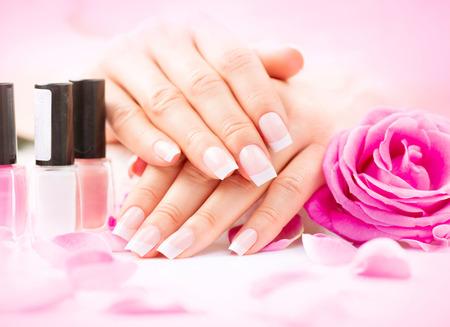 Photo pour Manicure and hands spa. Beautiful woman hands closeup - image libre de droit