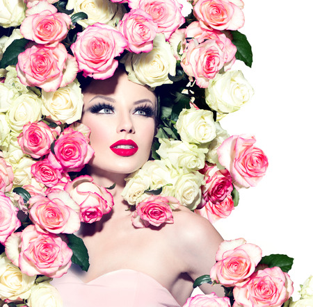 Photo for Sexy model girl with pink and white roses hairstyle - Royalty Free Image