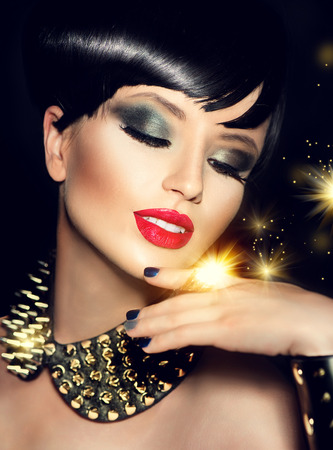 Photo for Beauty fashion model girl with bright makeup and golden accessories - Royalty Free Image