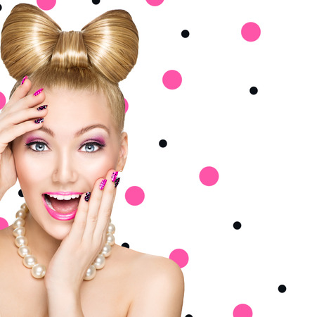 Photo pour Fashion happy model girl with funny bow hairstyle - image libre de droit