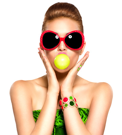 Photo for Beauty funny model girl wearing sunglasses - Royalty Free Image