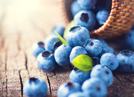 Photo for Blueberry on wooden background. Ripe and juicy fresh picked blueberries closeup - Royalty Free Image
