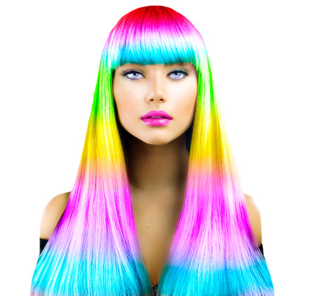 Photo pour Beauty fashion model girl with colorful dyed hair - image libre de droit