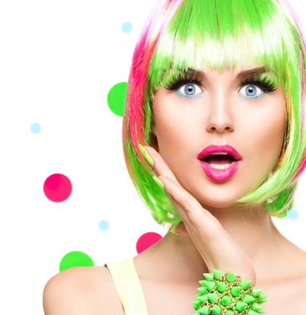 Photo pour Surprised beauty fashion model girl with colorful dyed hair - image libre de droit