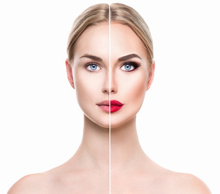 Photo pour Beautiful young blonde woman before and after make-up applying. Face divided in two parts - image libre de droit