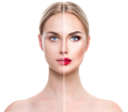 Foto de Beautiful young blonde woman before and after make-up applying. Face divided in two parts - Imagen libre de derechos