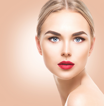 Photo for Beautiful blonde model girl with blue eyes and perfect make-up - Royalty Free Image