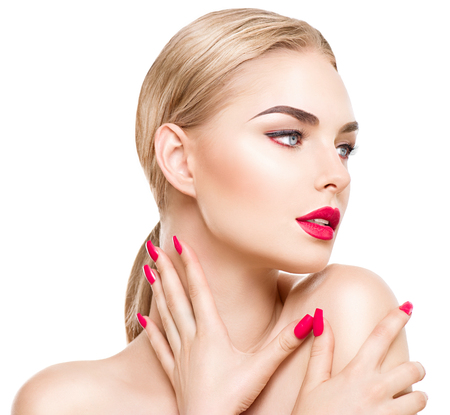 Photo pour Portrait of glamour girl with bright makeup isolated on white. Red lipstick and nails - image libre de droit