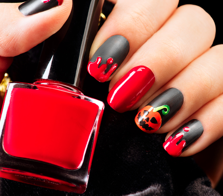 Photo for Halloween nail art design. Nail polish - Royalty Free Image