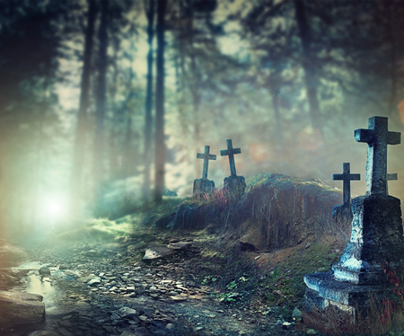 Photo for Halloween art design background. Foggy graveyard - Royalty Free Image