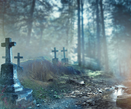 Photo for Halloween art design background. Foggy graveyard at night - Royalty Free Image