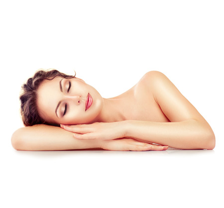 Photo for Spa girl. Sleeping or resting female isolated on white background - Royalty Free Image