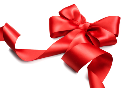 Foto per Red satin gift bow. Red ribbon isolated on white background - Immagine Royalty Free