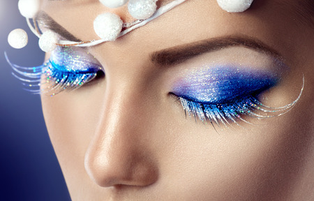 Photo for Winter Christmas holiday makeup - Royalty Free Image