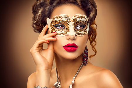 Photo for Beauty model woman wearing venetian masquerade carnival mask at party - Royalty Free Image