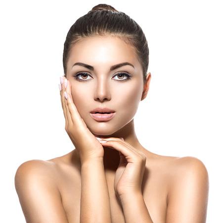 Photo pour Beauty portrait. Beautiful spa brunette woman touching her face - image libre de droit